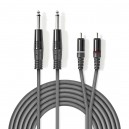 KAB-26MM-2CM-015 - Kabl Audio 2x 6,3mm Mono Muški / 2x Činč Muški1,5 Siva