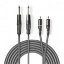 KAB-26MM-2CM-050 - Kabl Audio 2x 6,3mm Mono Muški / 2x Činč Muški 5m Siva
